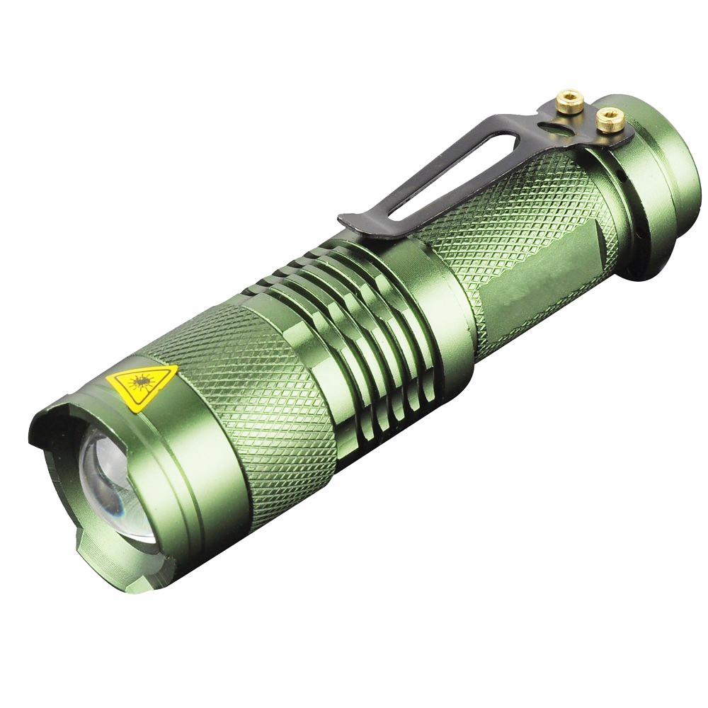 Augstas kvalitātes Mini Green CREE LED Lukturīti Zoomable LED Torch flashlight lukturi gaisma lampas