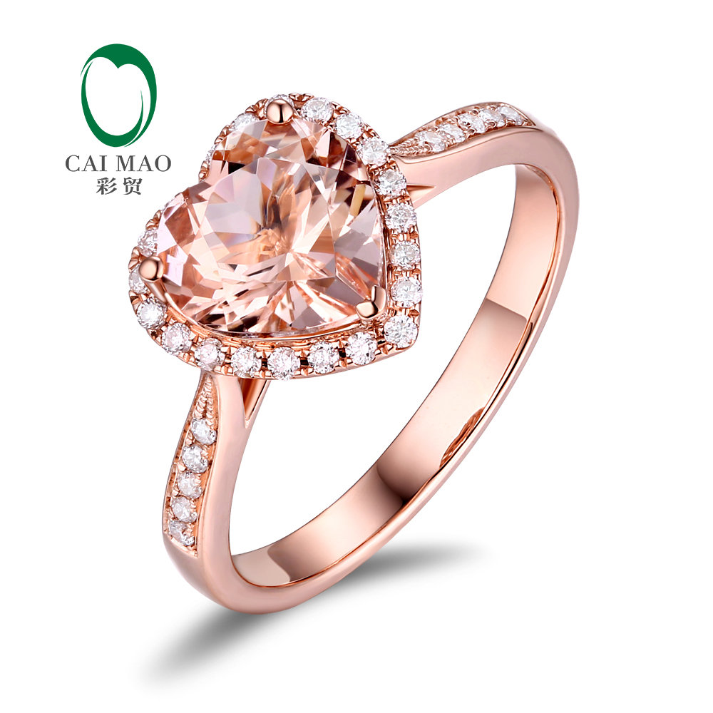 Caimao 14K Rotaslietas Rose Gold 1.87 ct Dabas Morganite & 0.22 ct, Dimantu Engagement Klasisks Gredzens